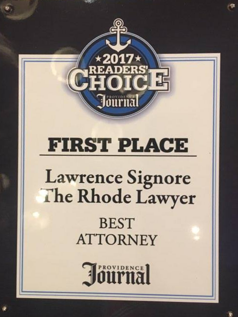 Image of a plaque naming The Law Offices of Lawrence J. Signore as Best Attorney in the Providence Journal in Providence, RI